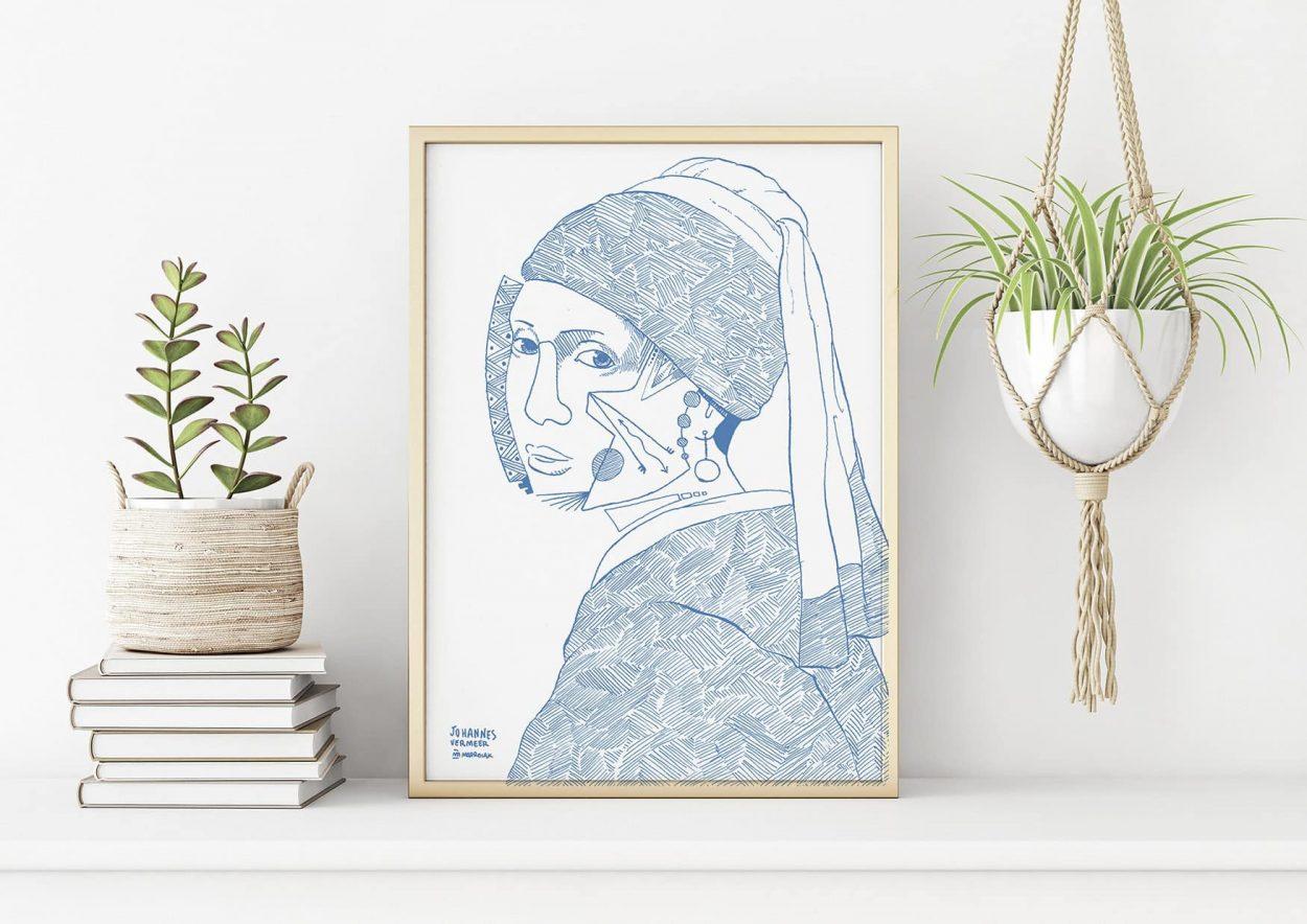 Lámina con un dibujo en azul de La Joven de la Perla de Johannes Vermeer. Versión post cubista y semi abstracta. Minimalismo