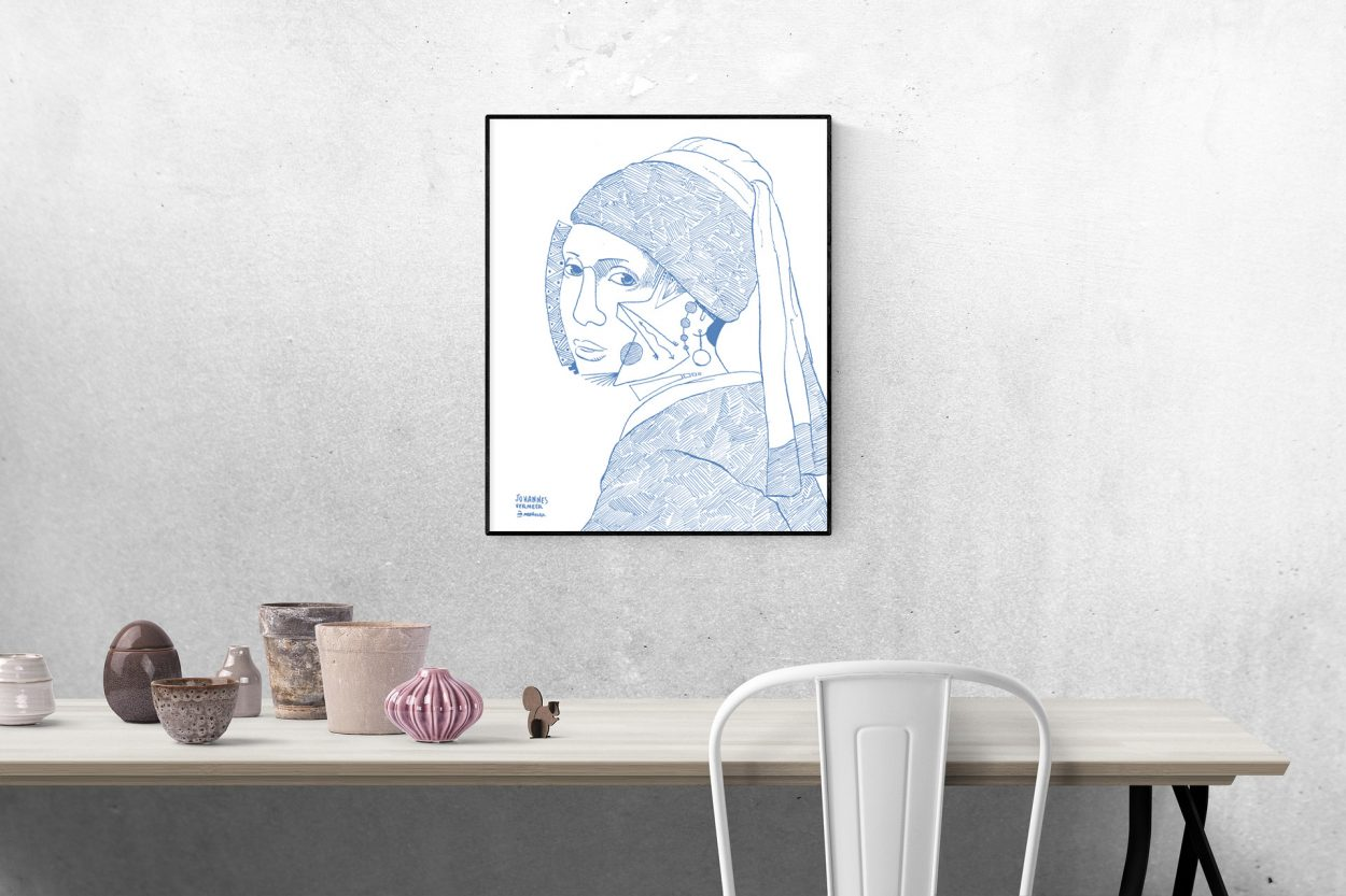 Ilustración con una versión de La Joven de la Perla de Johannes Vermeer. Post cubism, minimalismo