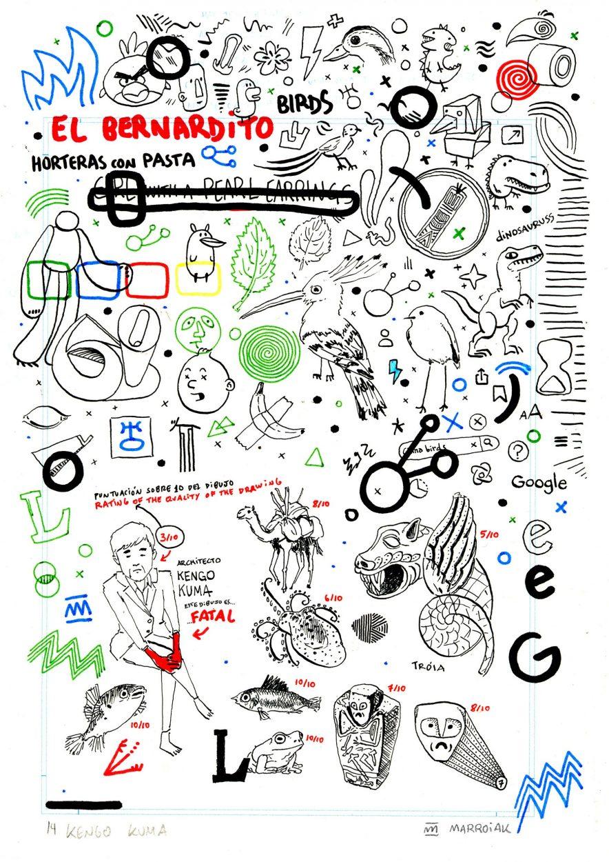 Retrato grunge del arquitecto japonés kengo kuma. Tinta y rotulador sobre papel. Ilustracion dibujo bocetos. Arte Urbano