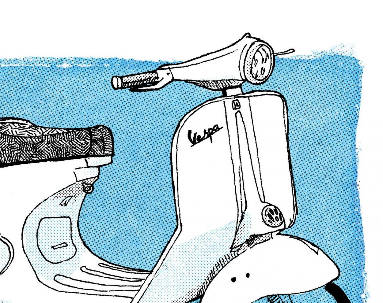Detalle scooter vespa