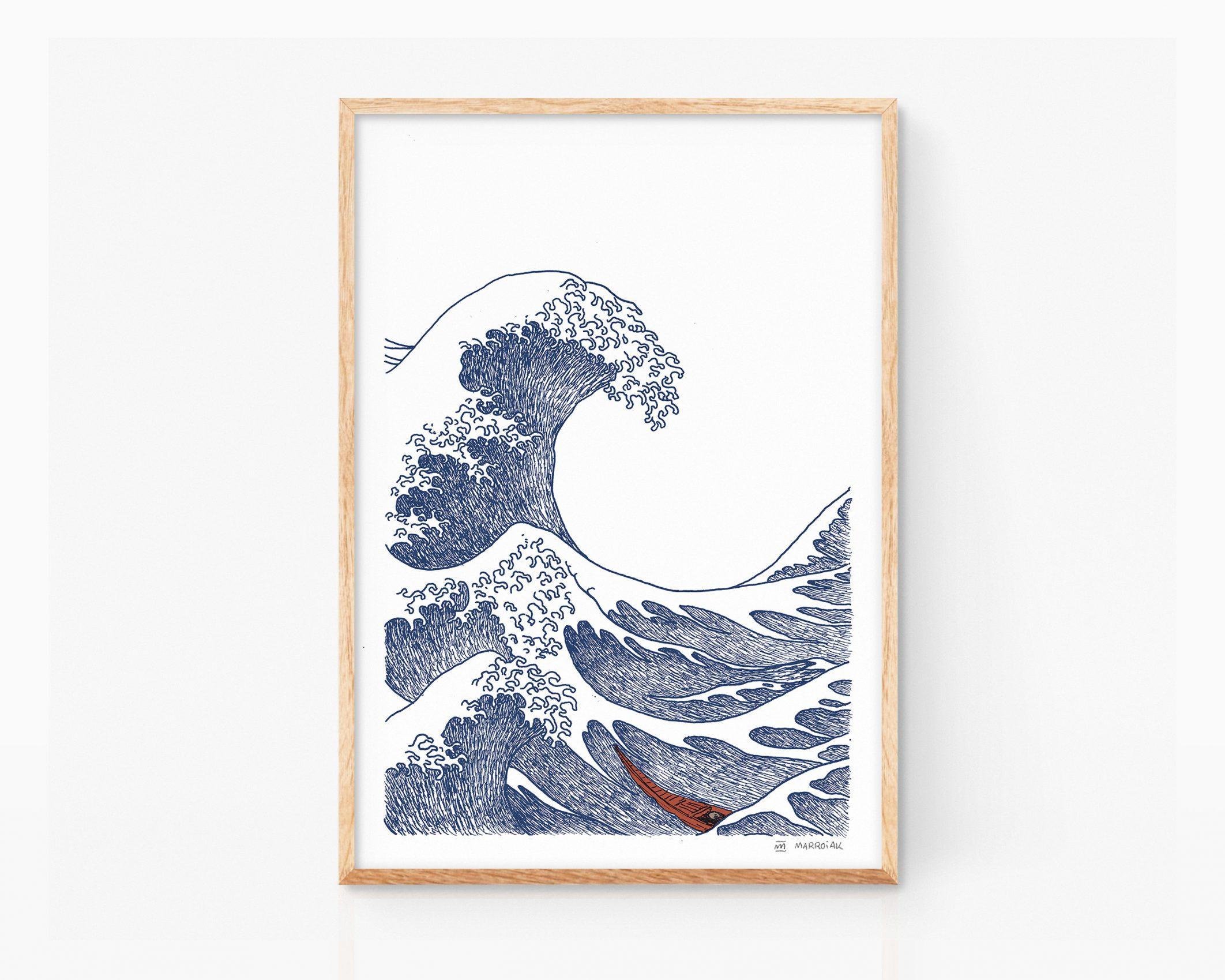 Cuadro decorativo con una Ilustración ukiyo-e de la gran ola de kanagawa del artista japonés Hokusai. Dibujo minimalista. Arte pop contemporaneo.