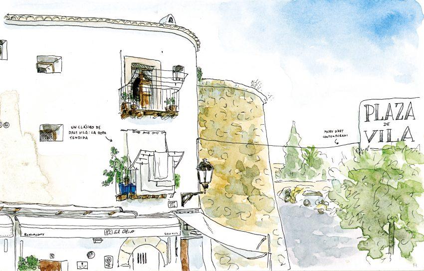 Cuadro decorativo Dalt Vila Eivissa realizado en tinta y acuarela sobre papel. Bocetos de viaje de Ibiza y Baleares estilo urban sketchers