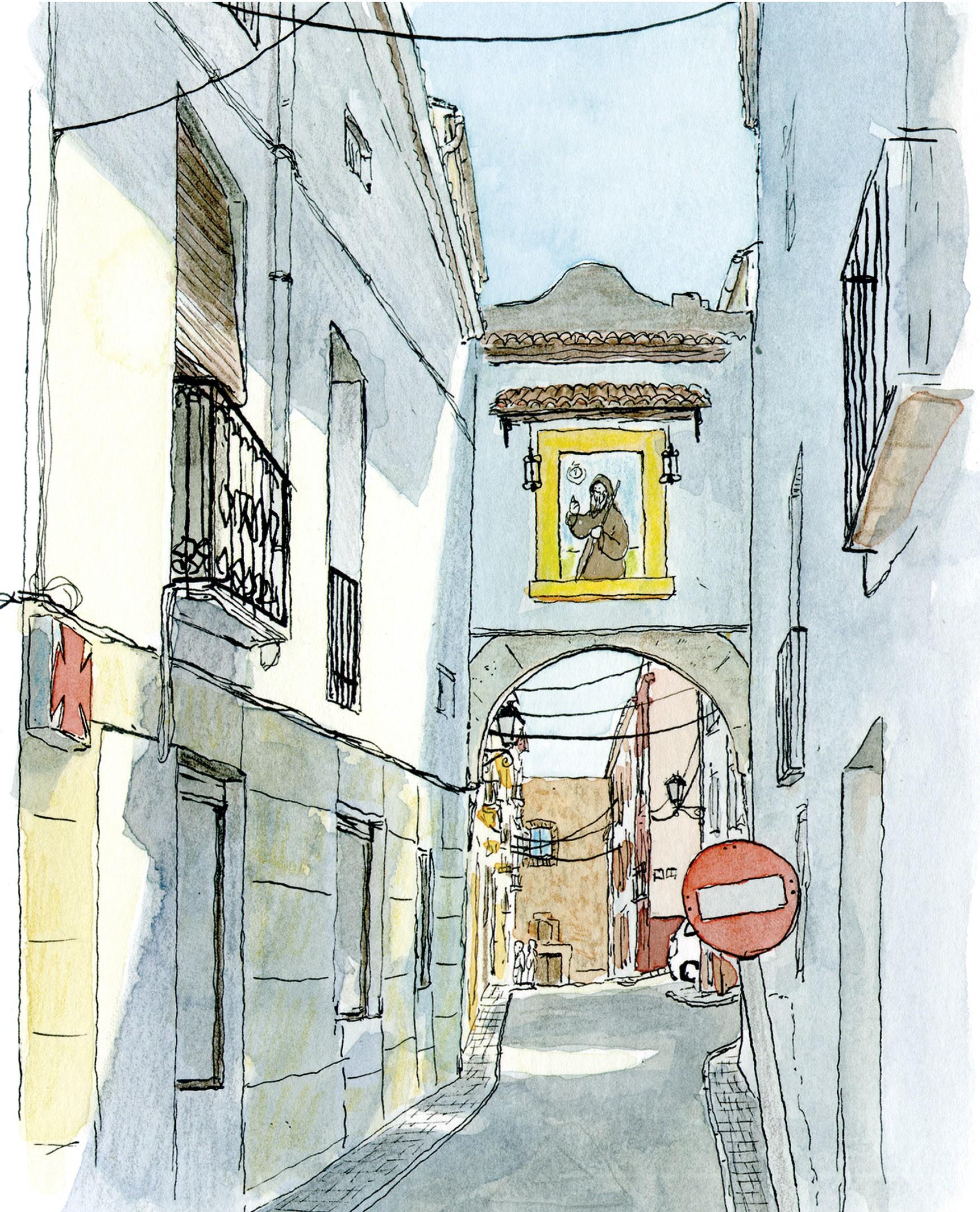 Lámina decorativa con una ilustración en acuarela de la calle carrer de la Iglesia en el municipio de Oliva (Valencia). Dibujo hecho a mano, cuadro para enmarcar