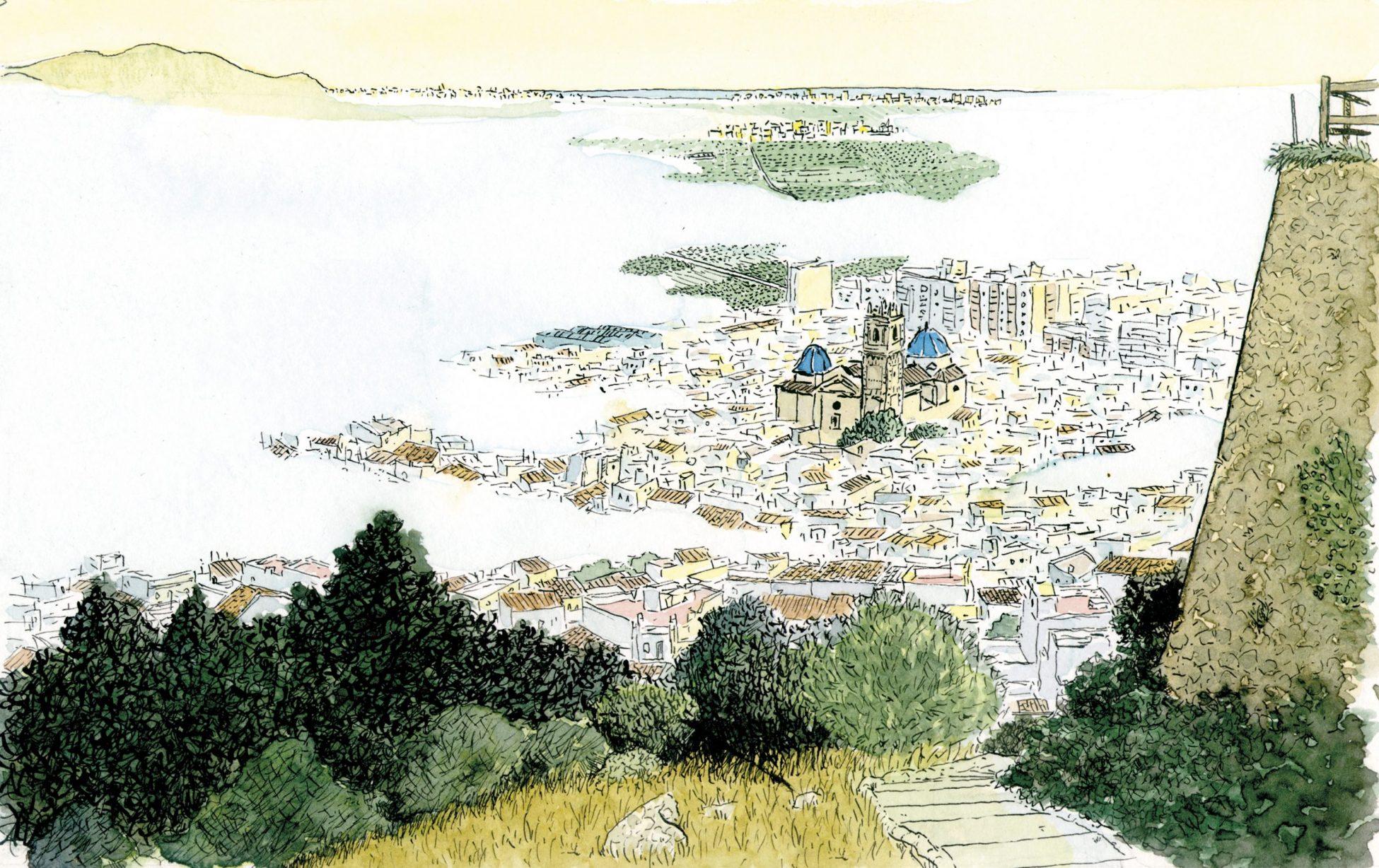 Cuadro para enmarcar con una dibujo del municipio de Oliva (Valencia) despertando entre niebla