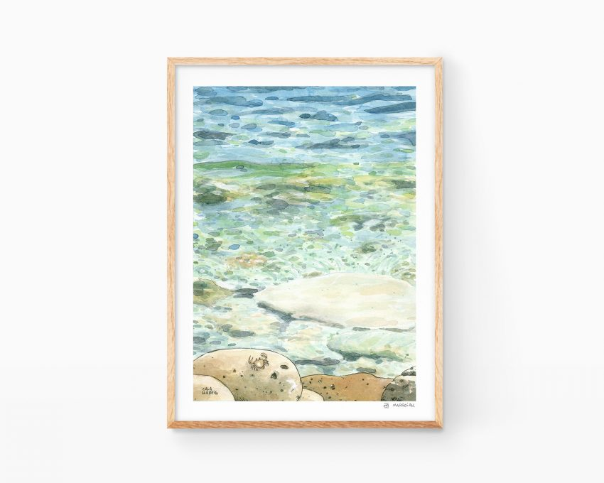 Lámina decorativa con dibujo de la playa llebeig en Poble nou de Benitatxell Alicante. Ilustración en acuarela de una cala mediterránea. Paisajes de España y península ibérica.