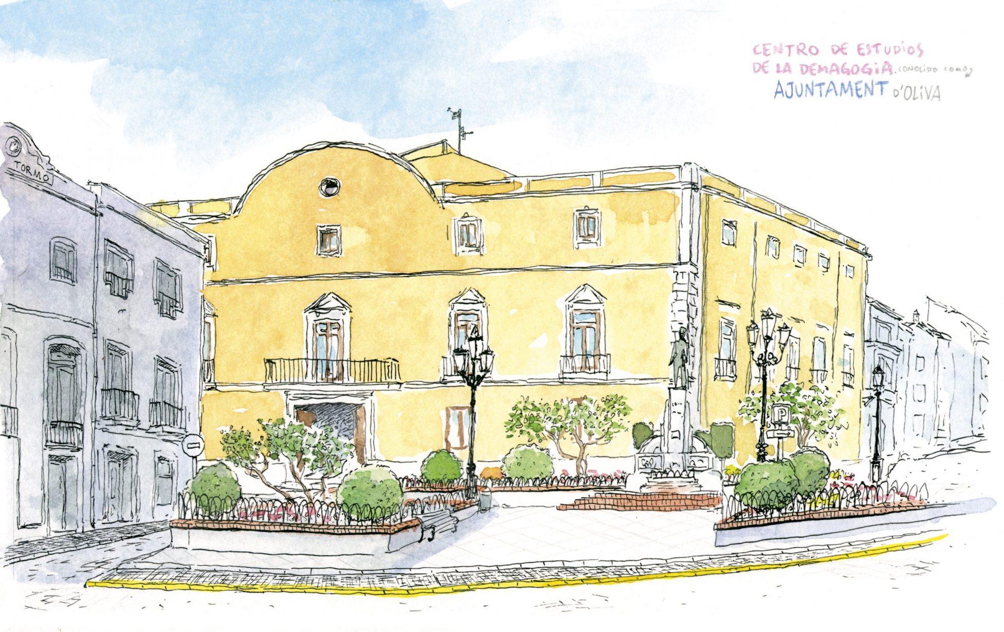 Lámina decorativa con una ilustración del ayuntamiento de Oliva en la provincia de Valencia y comarca de la safor