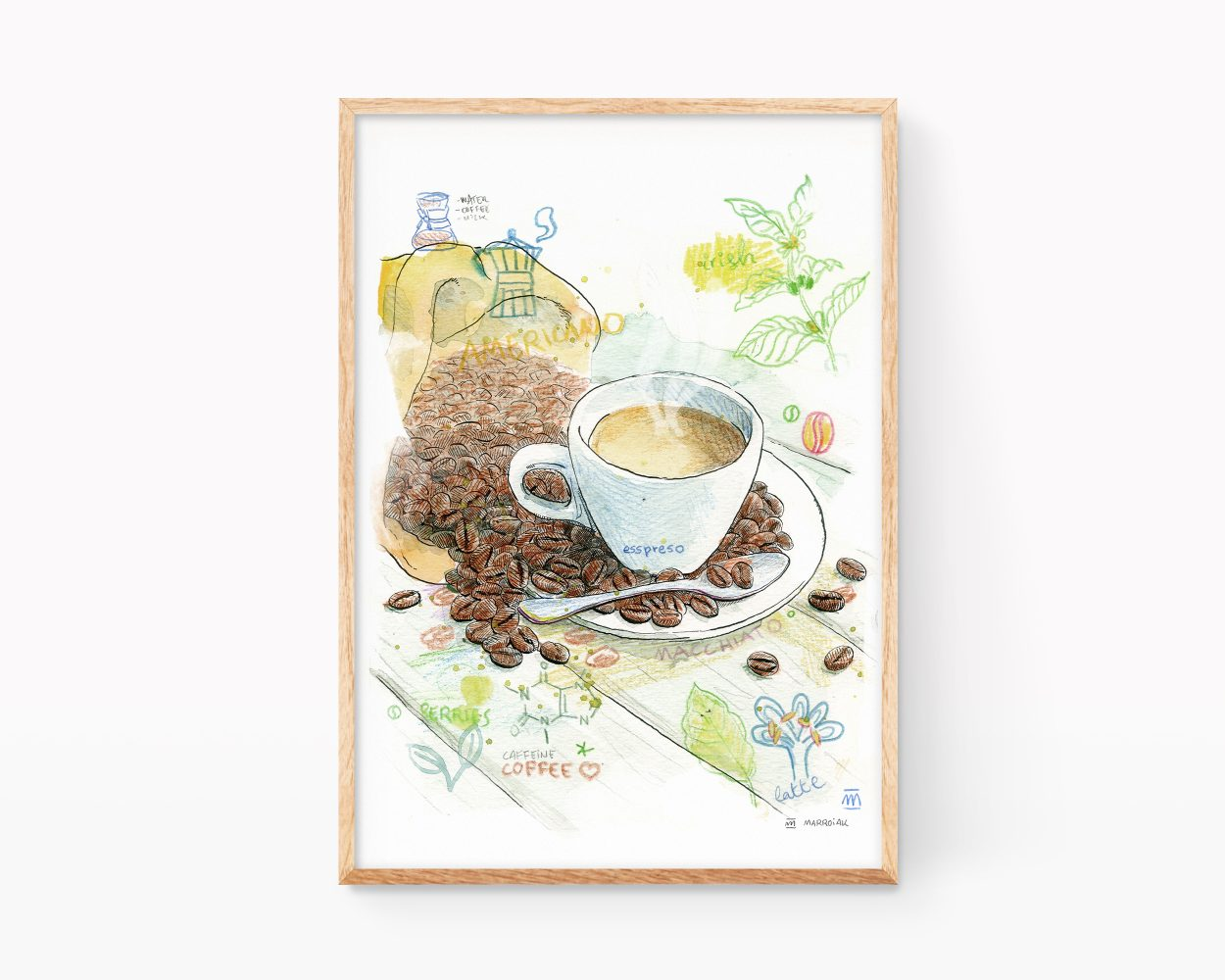 Lámina decorativa para cocinas con un dibujo en acuarela de una taza de café y granos. Cuadros con ilustraciones para enmarcar