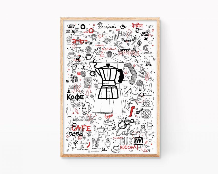 Lámina decorativa con un dibujo de café y cafeteras para cocinas y cafeterías. Ilustración en blanco y negro. Doodle Art