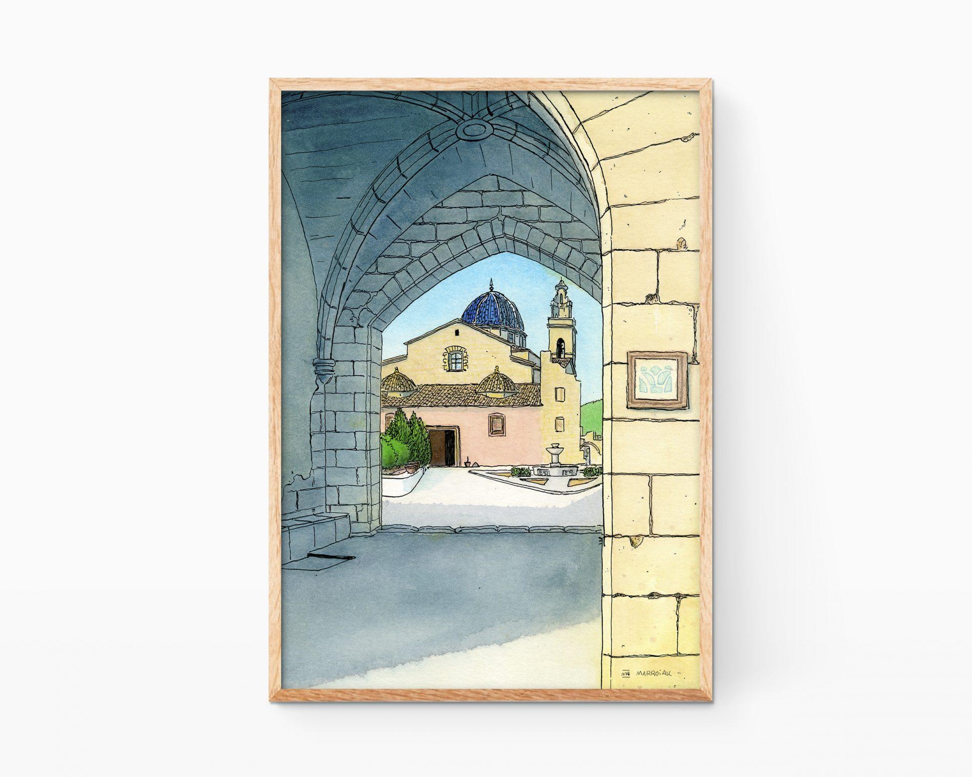 Cuadro para enmarcar con una ilustración de un monasterio de Simat de la Valldigna en la comarca de La Safor (Valencia). Paisaje en acuarela estilo urban sketchers