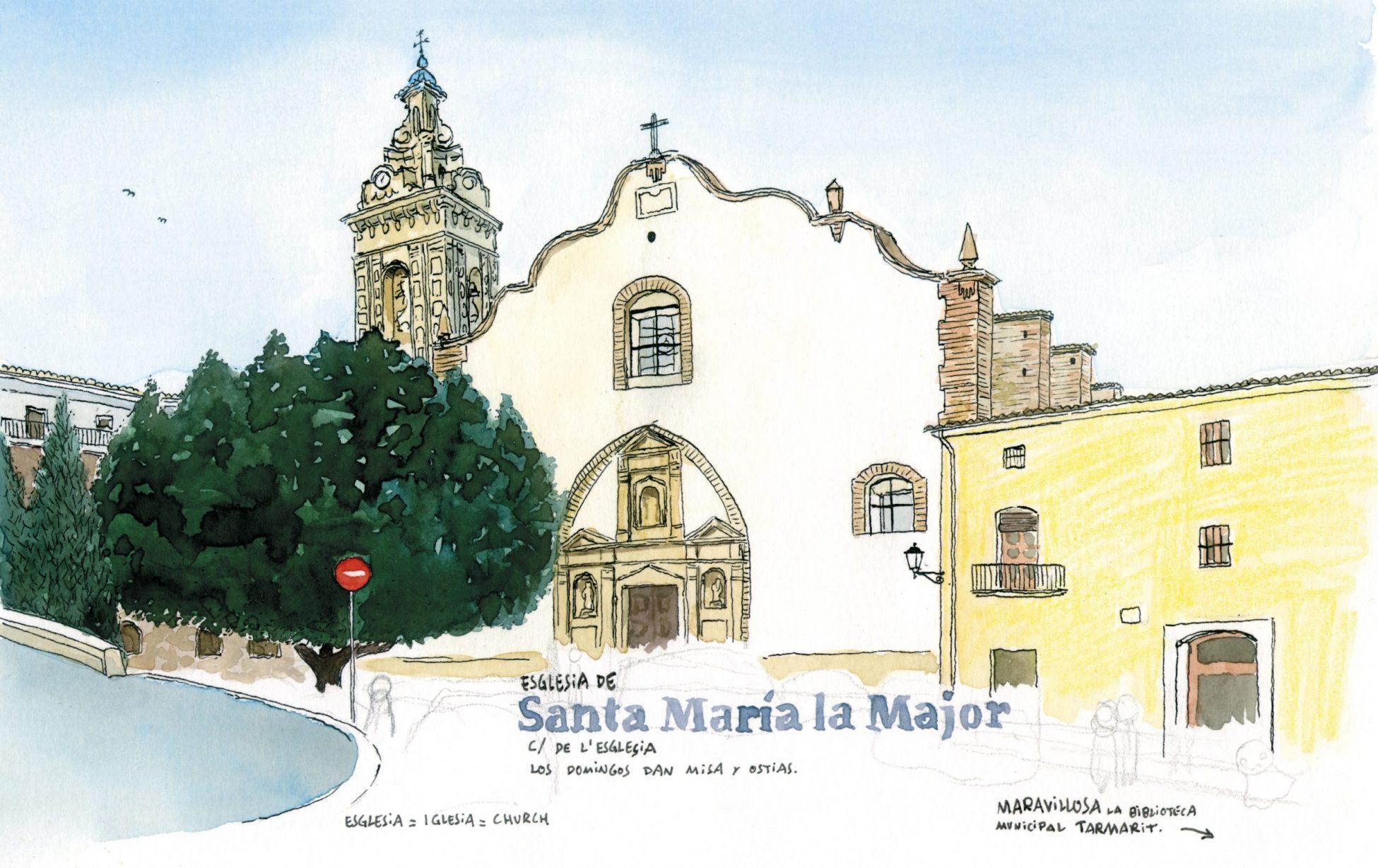 Lámina para enmarcar con una ilustración de la iglesia de santa maria en el municipio de Oliva, Valencia. Dibujos en acuarela