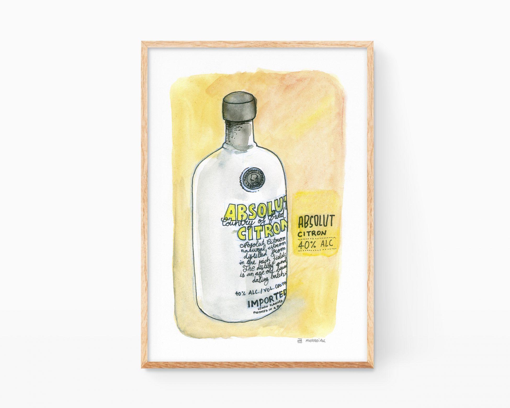 Lámina para decoración de cocinas con una ilustración en acuarela de una botella de vodka Absolut Citron. Dibujos cutres para enmarcar