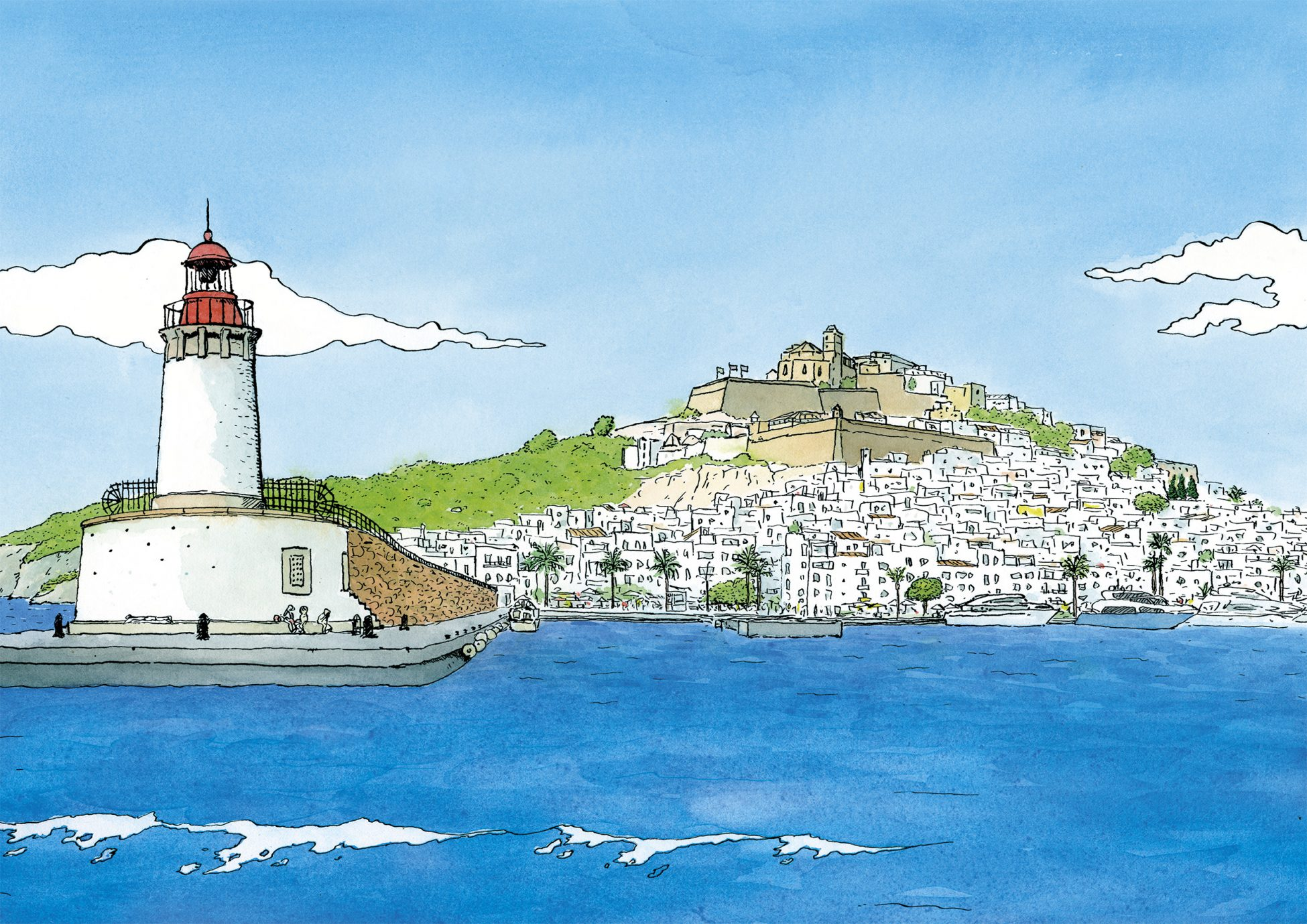 Cuadro decorativo para enmarcar con una ilustración en acuarela del Puerto de Eivissa y Dalt Vila en la isla de Ibiza. Lámina disponible para comprar online.