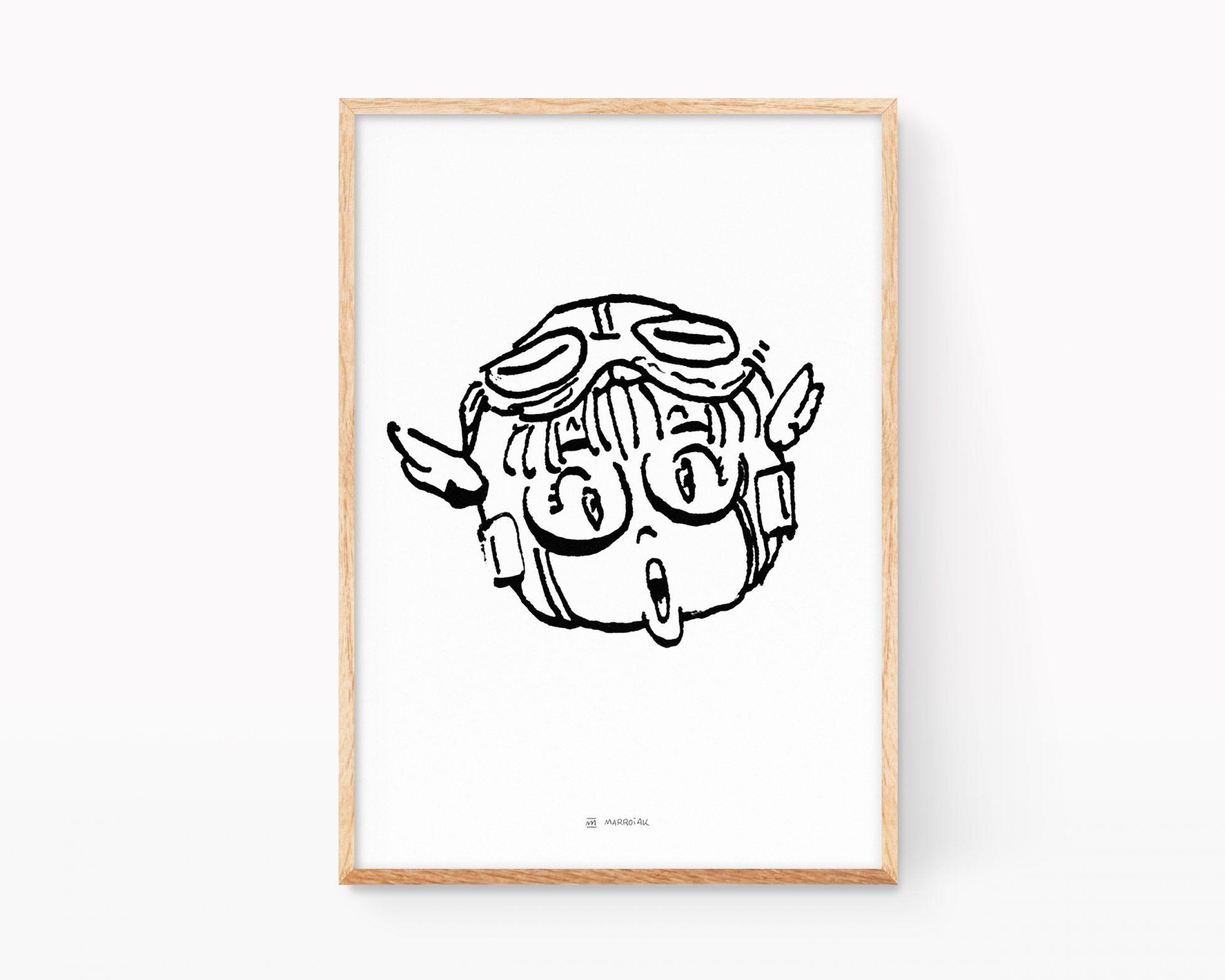 Lámina con una ilustración en blanco y negro de Arale de la serie de manga Dr Slump del mangaka Akira Toriyama. Boceto en blanco y negro. Remezclas de arte pop y cómic