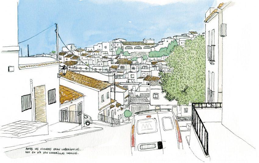 Cuadro decorativo con una ilustración en acuarela de la calle de la montaña en el pueblo de Oliva, Valencia. Municipio de la comunidad valenciana
