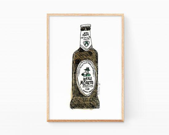 Lámina decorativa para cocina con una ilustración de una cerveza Birra Moretti de Italia.