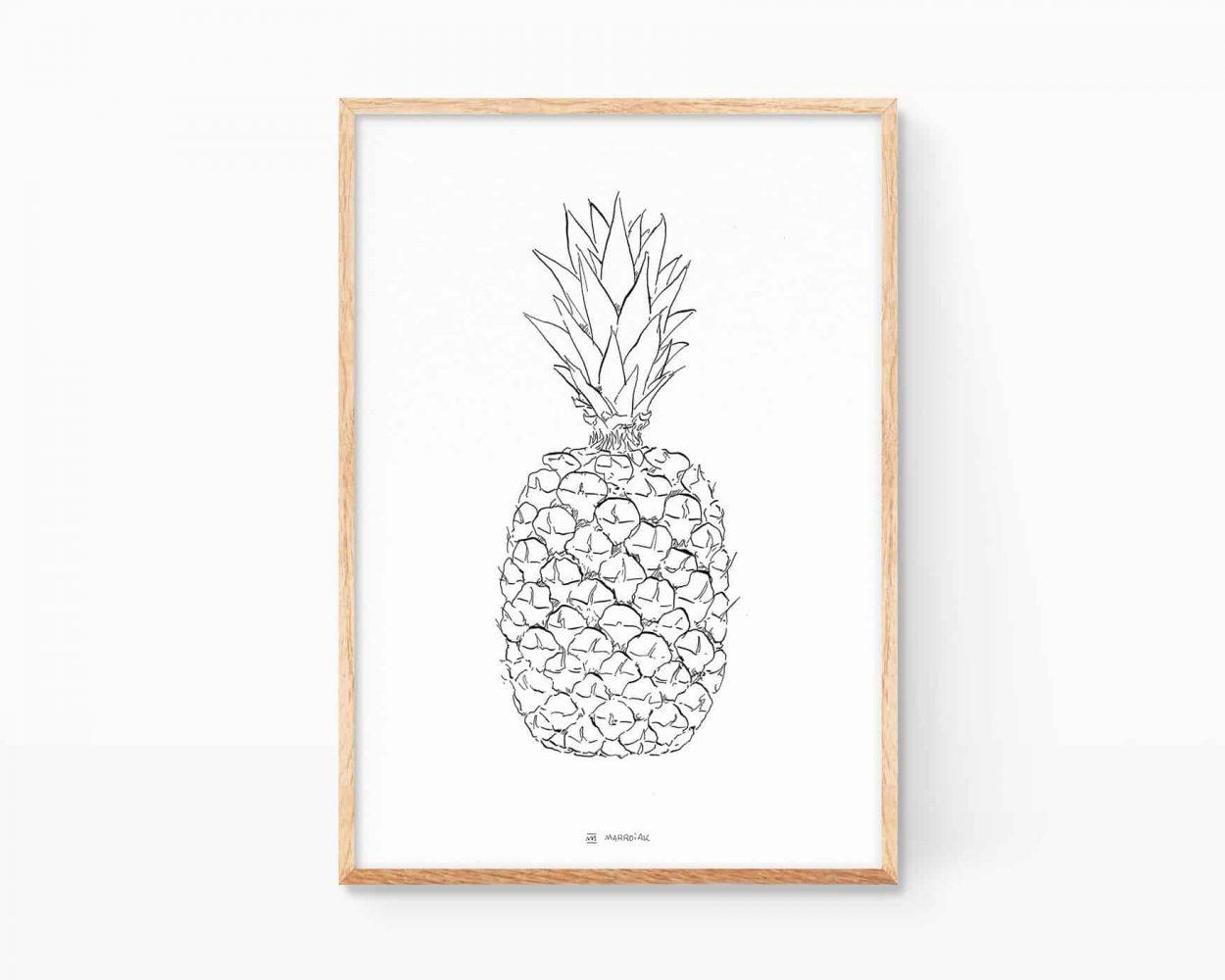 Lámina decorativa para cocinas, fruterías y zumerías con una ilustración en blanco y negro de una piña. Cuadros para enmarcar online