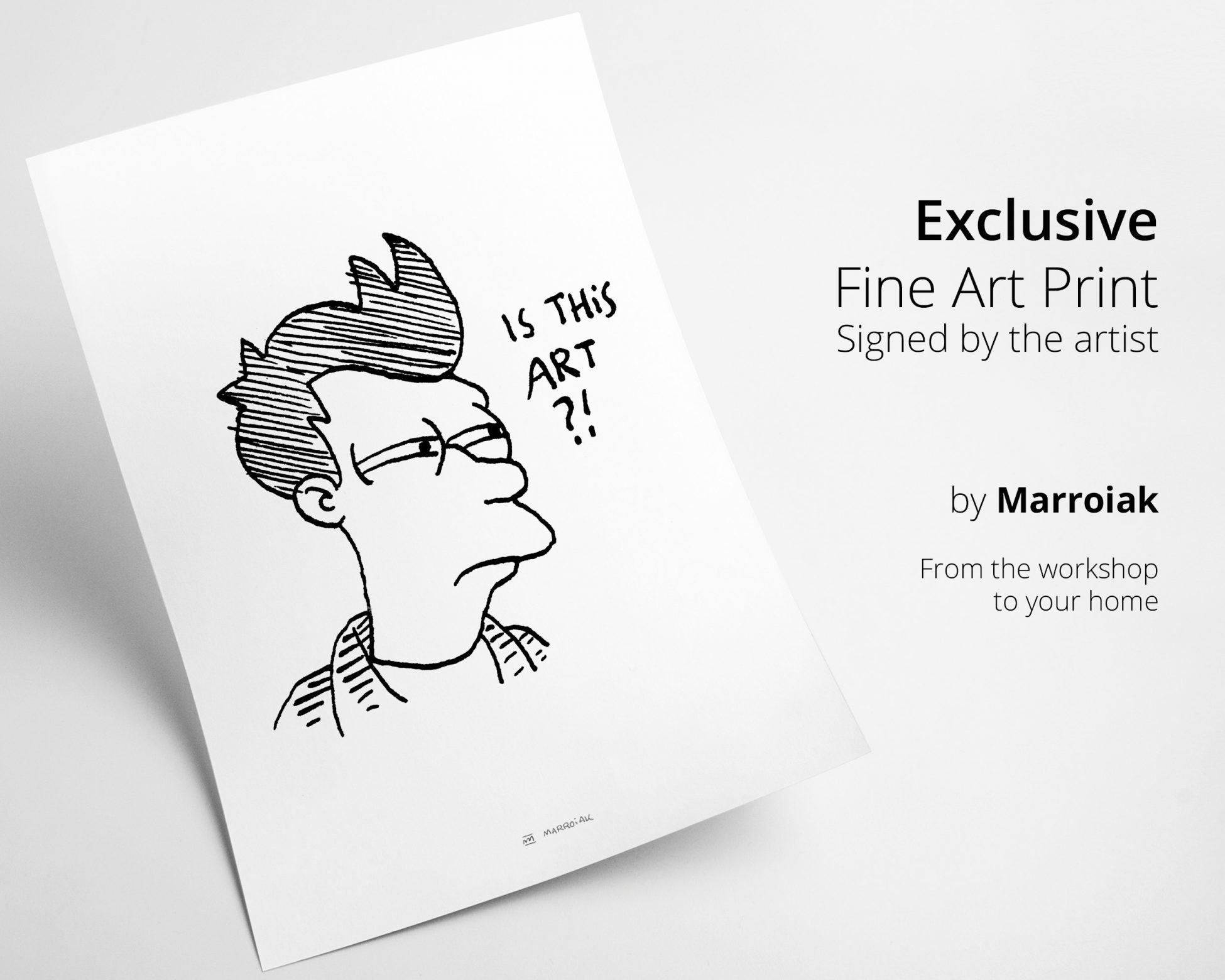Lámina con una ilustración en blanco y negro de Fry de Futurama. Decoración divertida.