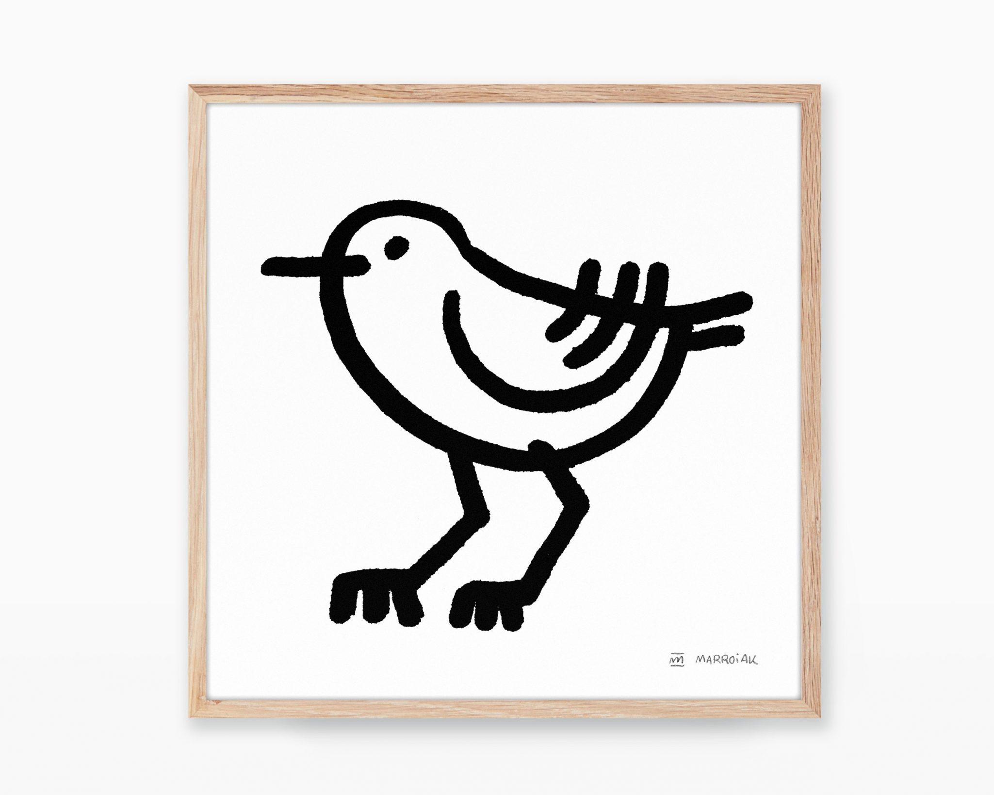Lámina decorativa con una ilustración en blanco y negro de un pájaro chorlitejo patinegro en estilo ultra minimalista para niños.