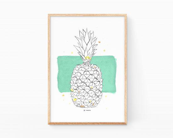 Lámina decorativa para cocinas con una ilustración de una piña. Cuadros para enmarcar de verano minimalistas y de estilo nórdico.