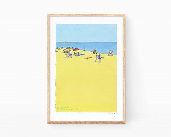 Cuadro con una acuarela de la orilla de la playa de Oliva (Valencia) con varios bañistas y veraneantes a primera hora de la mañana