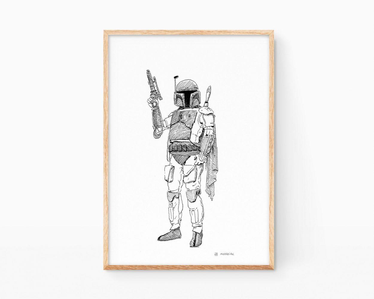 Cuadro decorativo con una ilustración original de Boba Fett de la saga Star Wars ((La guerra de las galaxias). Dibujo en blanco y negro disponible para compar online.