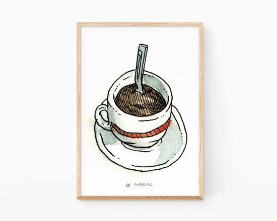 Lámina decorativa para cocinas con una ilustración en acuarela de una taza de café expresso. Venta online