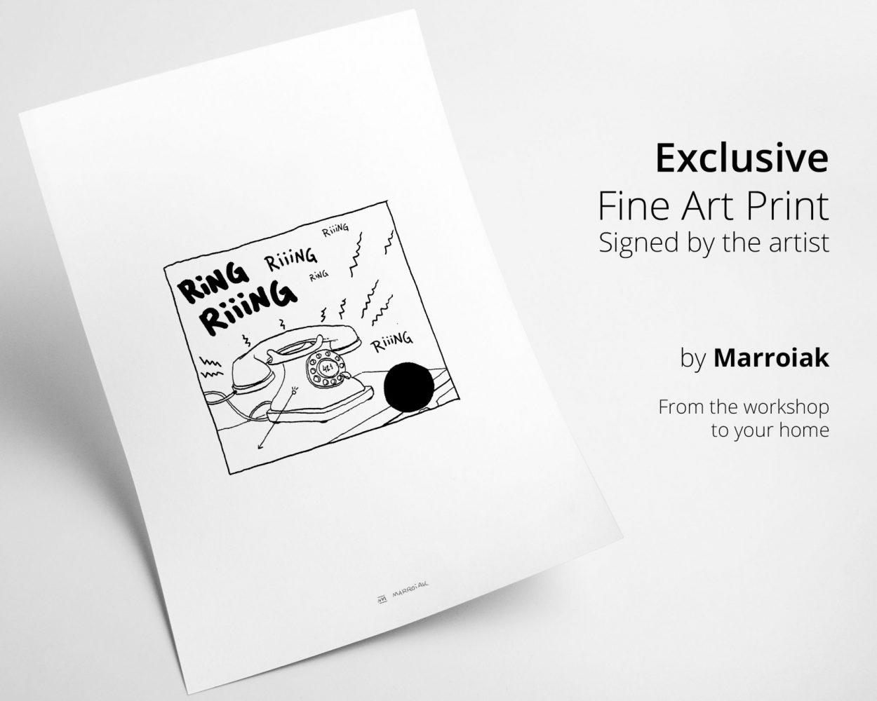 Ilustración en blanco y negro con un dibujo de un teléfono vintage extraído de un cómic de tintin