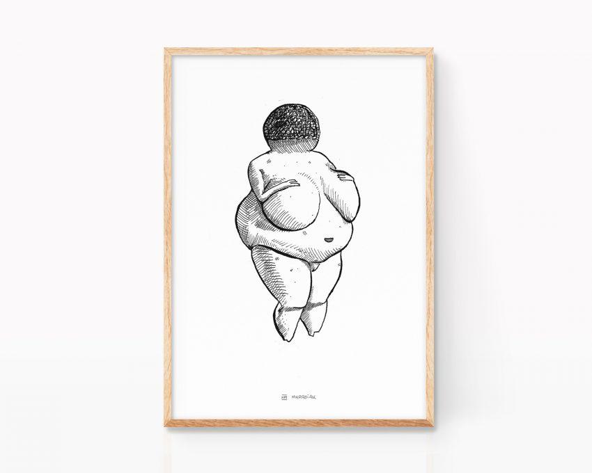 Lámina decorativa en blanco y negro con una ilustración de la escultura prehistórica la venus de willendorf. Regalo decoración para embarazadas. Símbolo fertilidad.