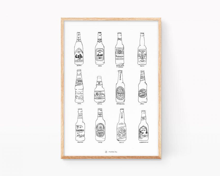 Lámina decorativa para cocinas con una ilustración de diferentes cervezas del mundo. Cobra, Heineken, tsingtao, coronita, san miguel, leffe, cobra, casa blanca, guiness