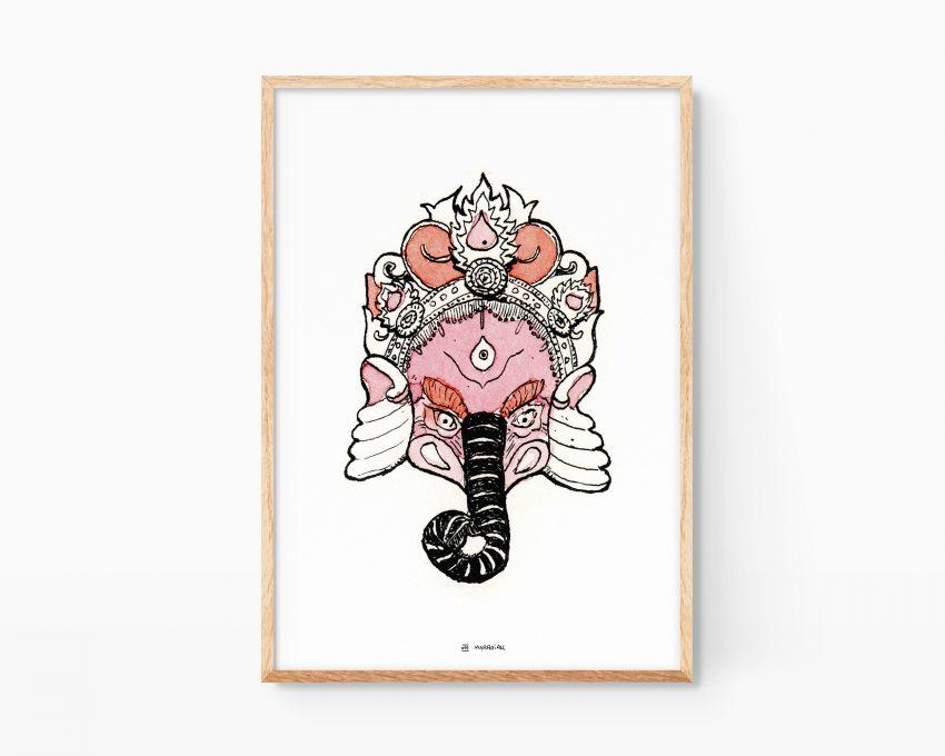 Cuadro para enmarcar con un dibujo de la diosa de la India y Nepal Ganesh, un elefante con brazos y símbolo de la sabiduría.