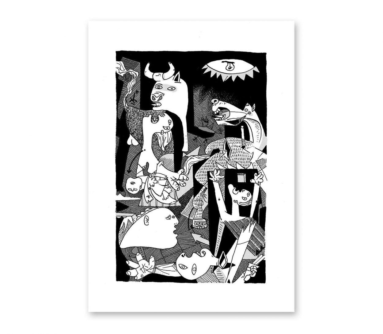 Lámina impresión digital Guernica de Pablo Picasso. Arte cubista, abstracto. Ilustración