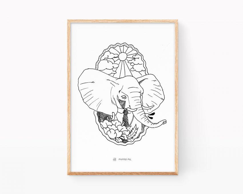 Lámina decorativa de estilo tattoo old school con un retrato de un elefante.