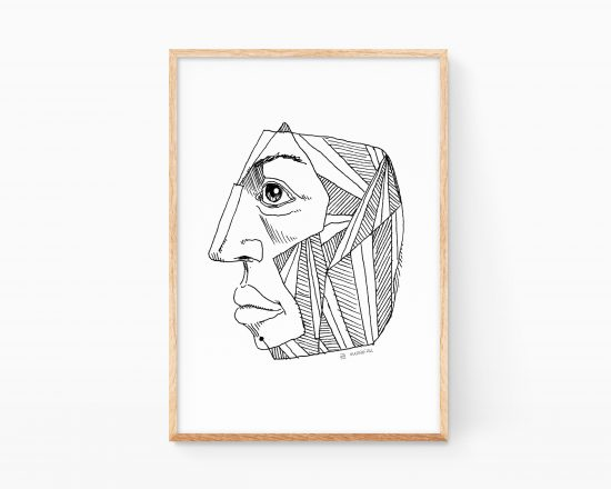 Lámina en blanco y negro de una cabeza cubista. Retrato dibujo vanguardista lineal