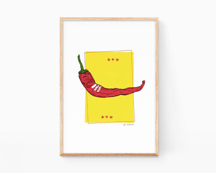 Cuadro decorativo para enmarcar cocinas de un dibujo de una guindilla (Chili). Ilustraciones de pop art de verduras y frutas