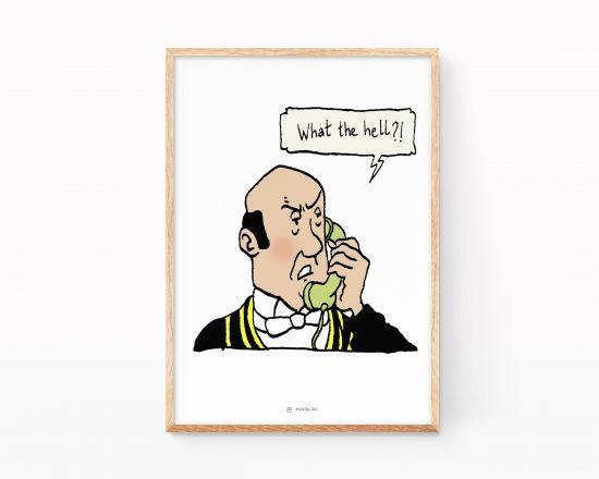 Lámina con una ilustración de Nestor el mayordomo del capitan Hadock y Tintin.