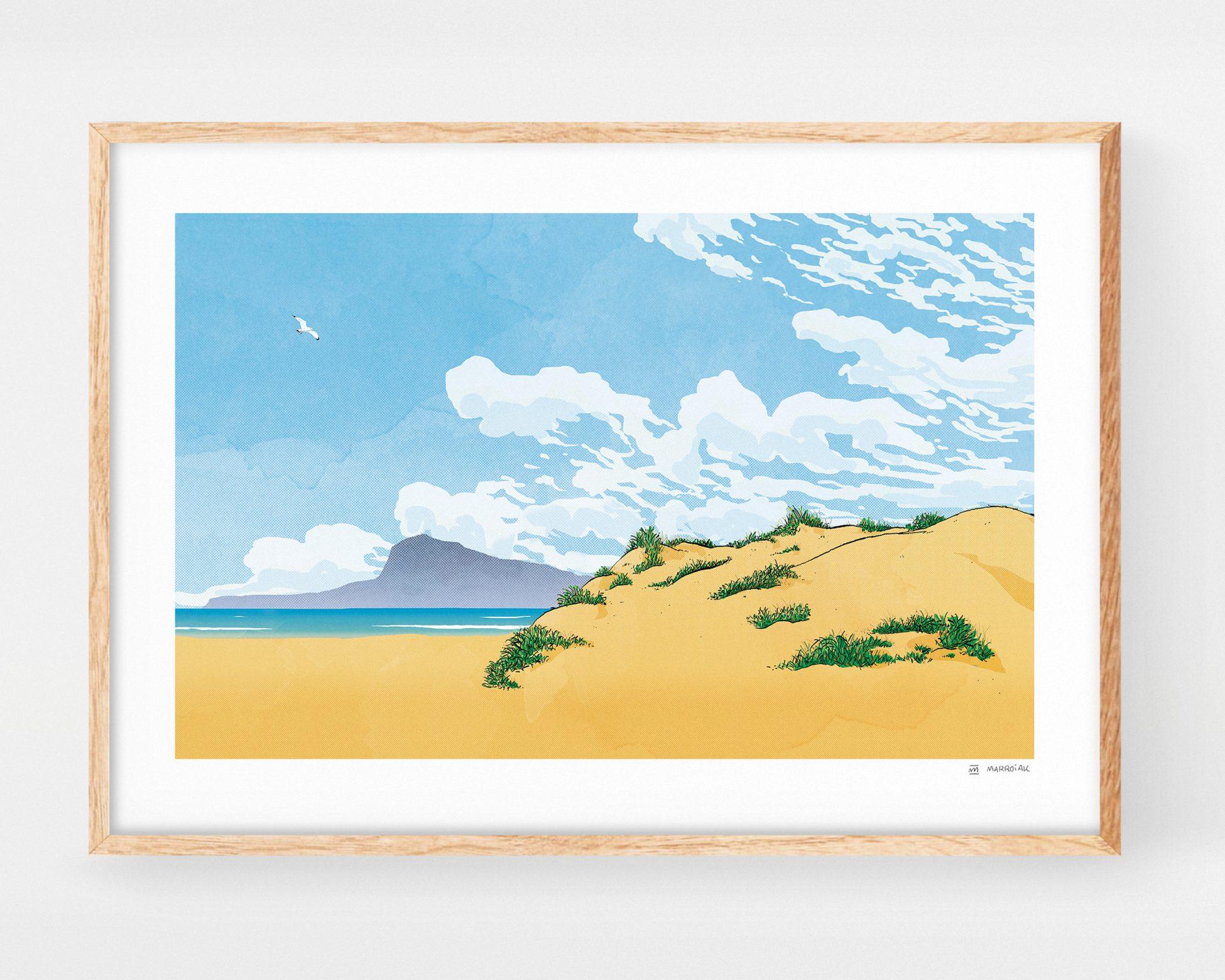 Cuadro para enmarcar con un dibujo de la playa de Oliva. Ilustraciones de la safor y Valencia.