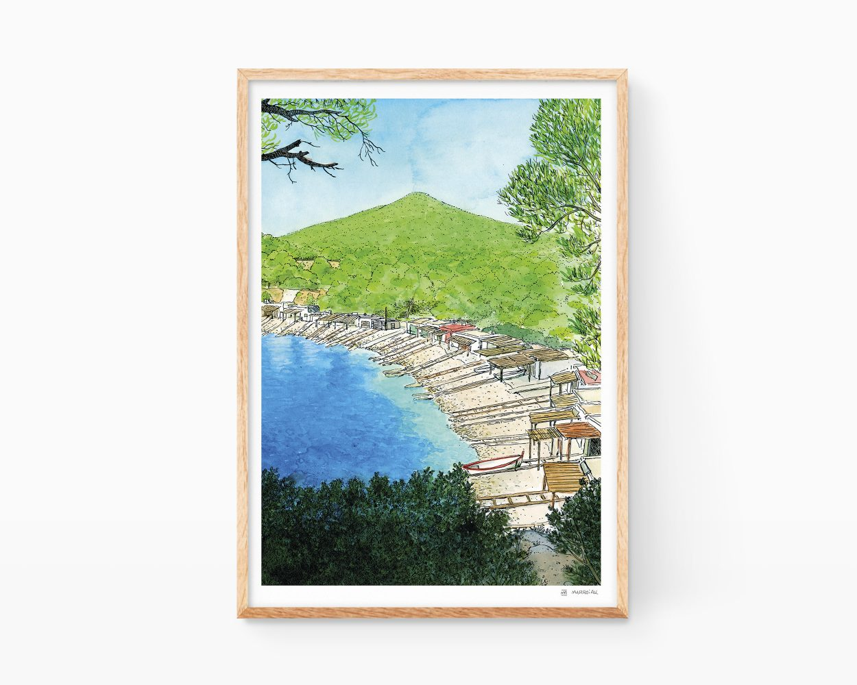 Lámina decorativa para enmarcar con una ilustración en acuarela de la playa de Sa Caleta en la Isla de Ibiza. Municipio de Sant Josep de Sa Talaia