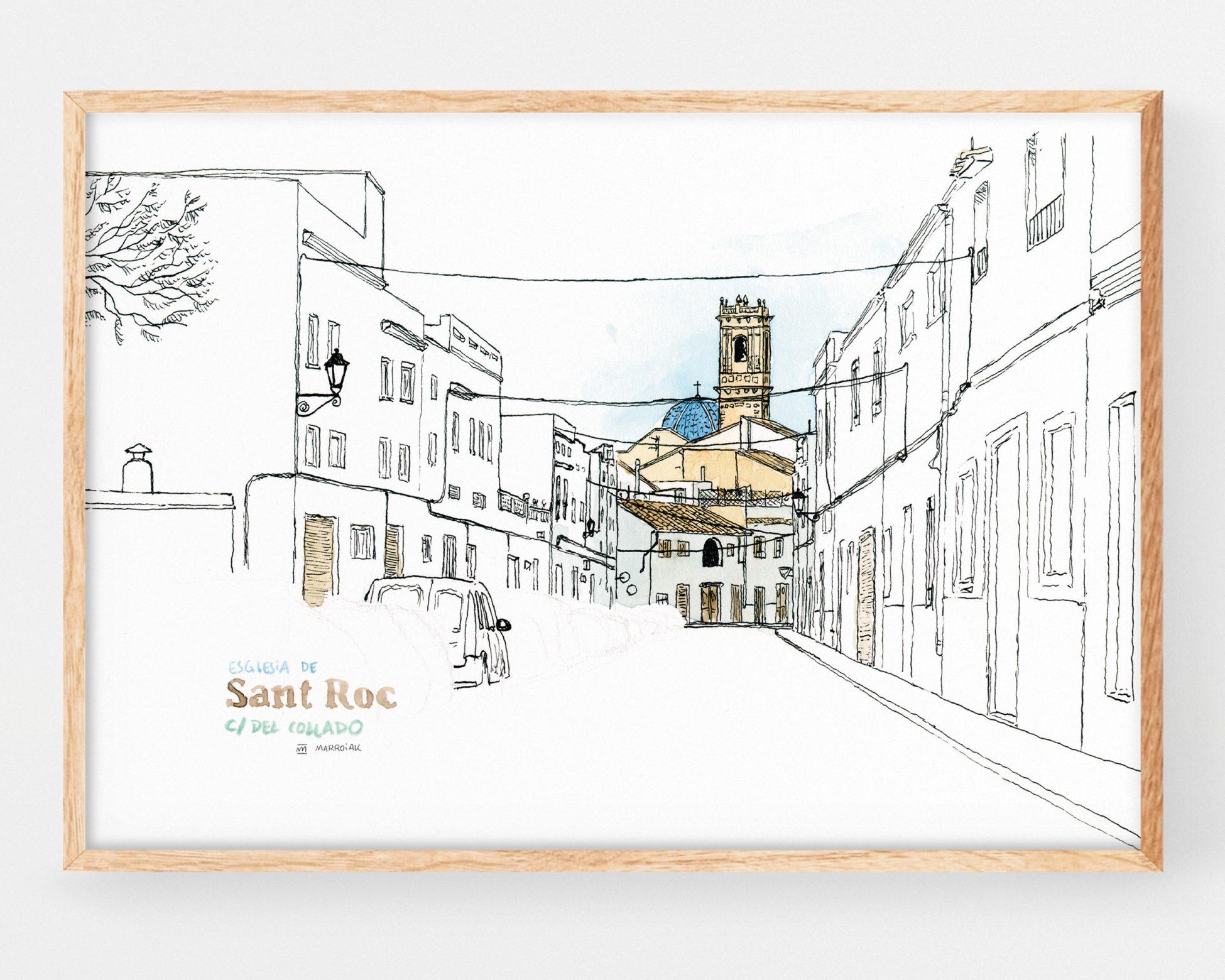 Cuadro decorativo con una lámina de una ilustración en acuarela de la iglesia de san roque en el pueblo de Oliva (valencia). Paisajes de la safor