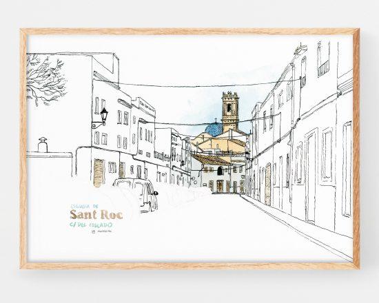 Cuadro decorativo con una lámina de una ilustración en acuarela de la iglesia de san roque en Oliva (valencia). Paisajes de la safor