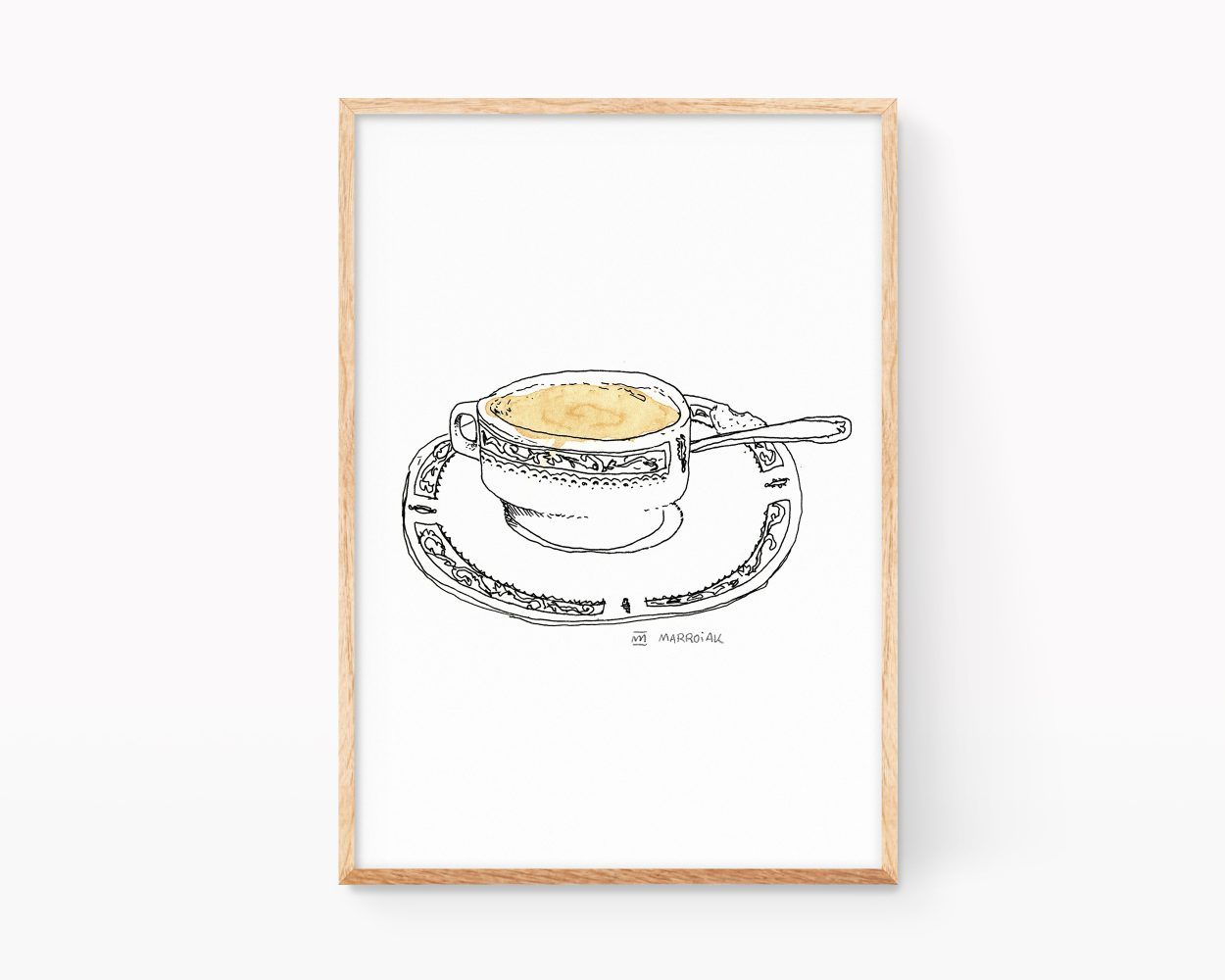 Lámina decorativa para cocinas y cafeterías con un dibujo en blanco y negro de una taza de café solo expreso.