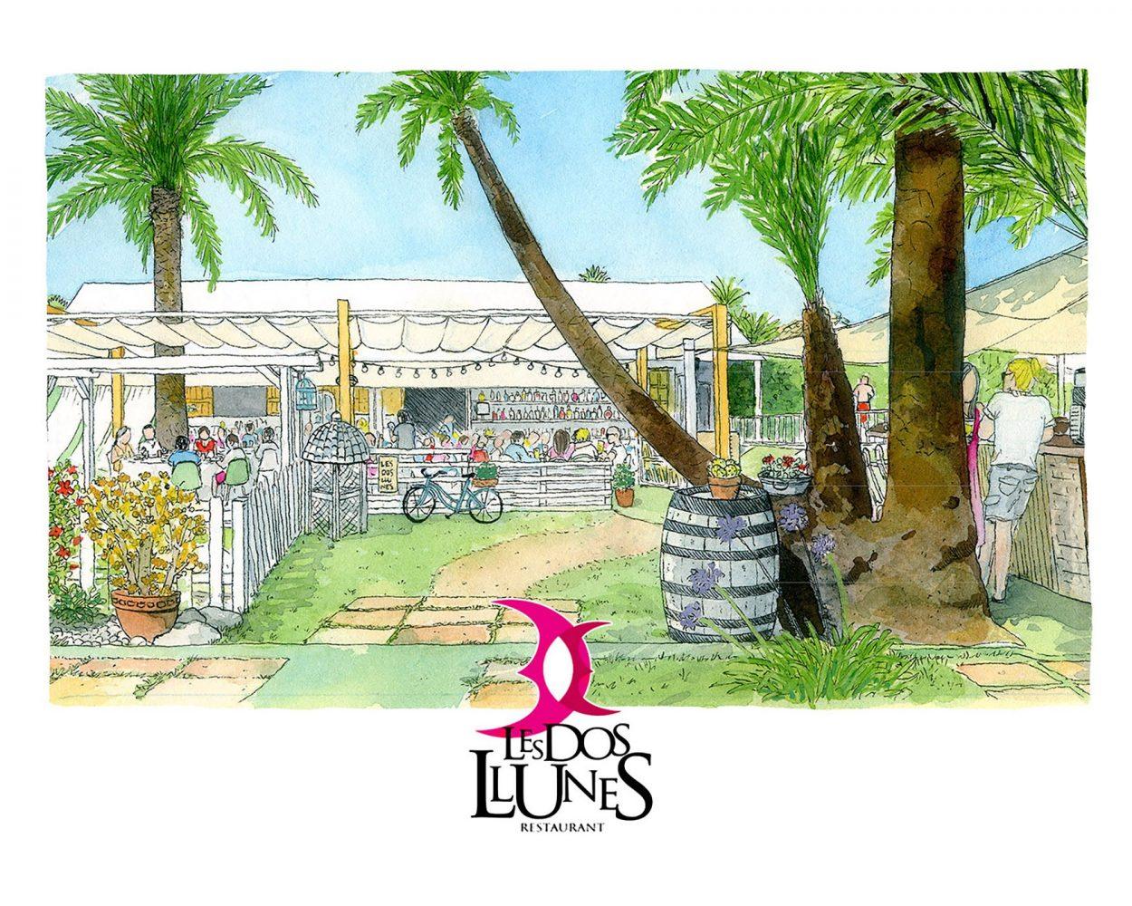 Dibujo en acuarela del restaurante de Oliva Les Dos Llunes. La Safor, Valencia. Bares con encanto. Ilustración de paisaje. Publicidad artesanal.