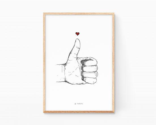 Cuadro para enmarcar con una ilustración en blanco y negro de una mano haciendo el me gusta. Decoración nórdica