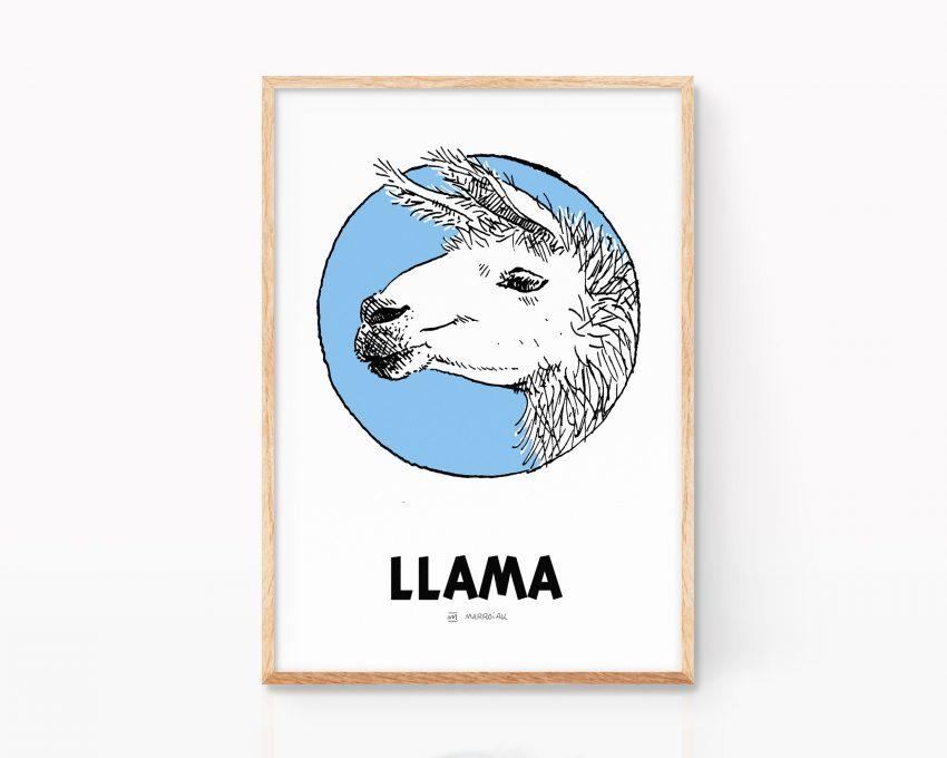 Lámina con ilustración decorativa de una llama. Cuadro divertido de animales. Blanco y negro.