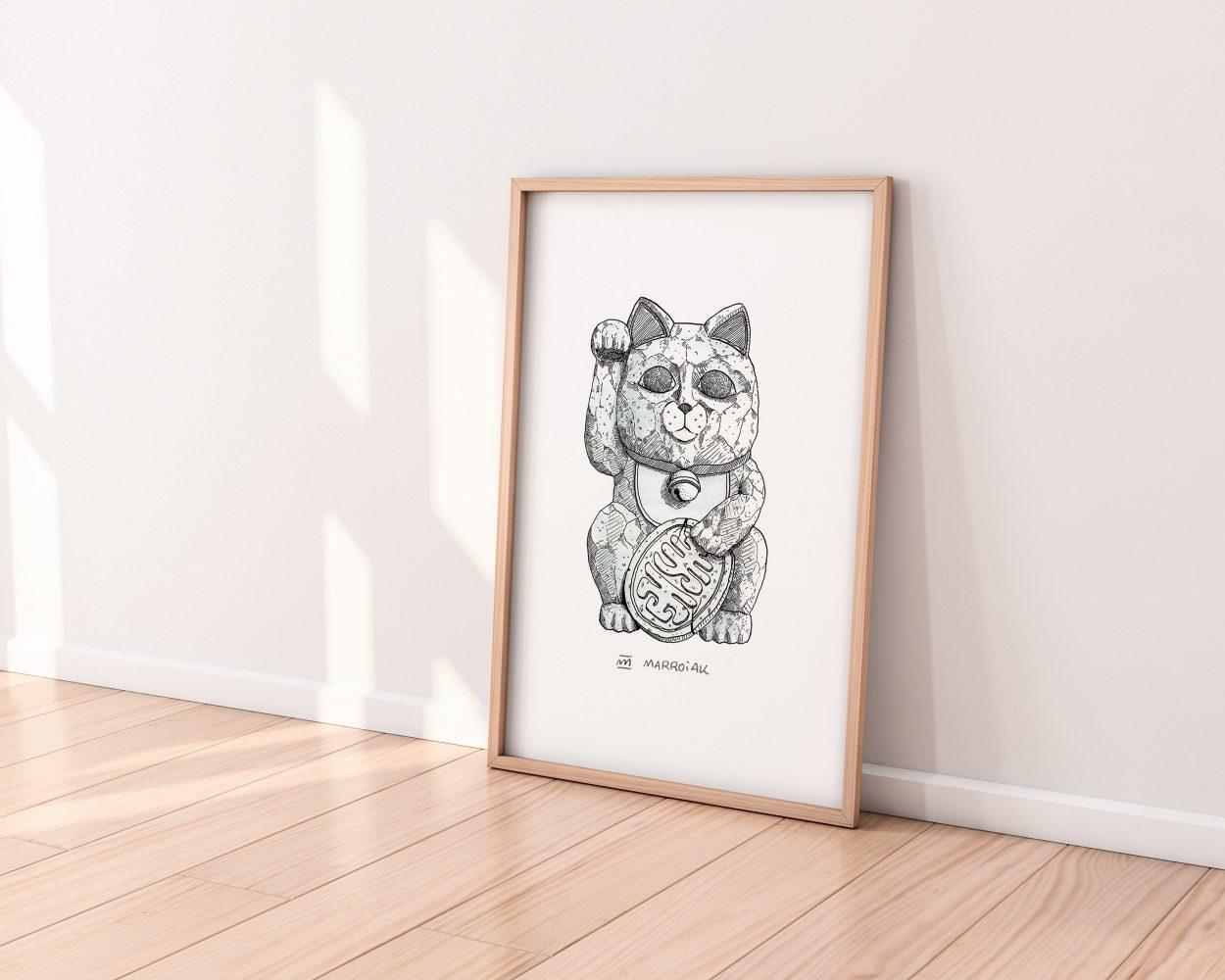 Lámina con un dibujo de una escultura del gato de la suerte japonés. Ilustración sobre papel. Arte nipón.