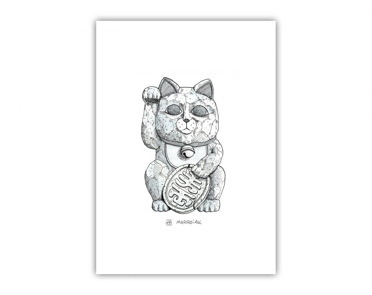 Ilustración en tinta sobre papel del Maneki Neko japonés. Trabajo a plumilla. Arte y versiones