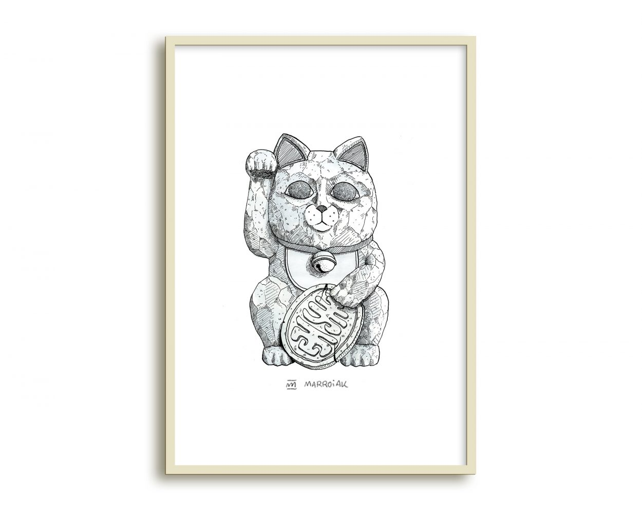 Lámina con un dibujo de Maneki Neko, el gato de la suerte japonés. Arte nipón.