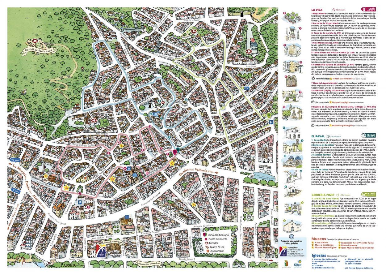 Diseño de un mapa ilustrado del Centro Histórico del municipio de Oliva en La Safor, Valencia