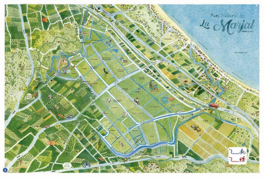 Diseño de mapa ilustrado con rutas a bici y a pie por el parque natural de la Marjal Pego Oliva en Valencia