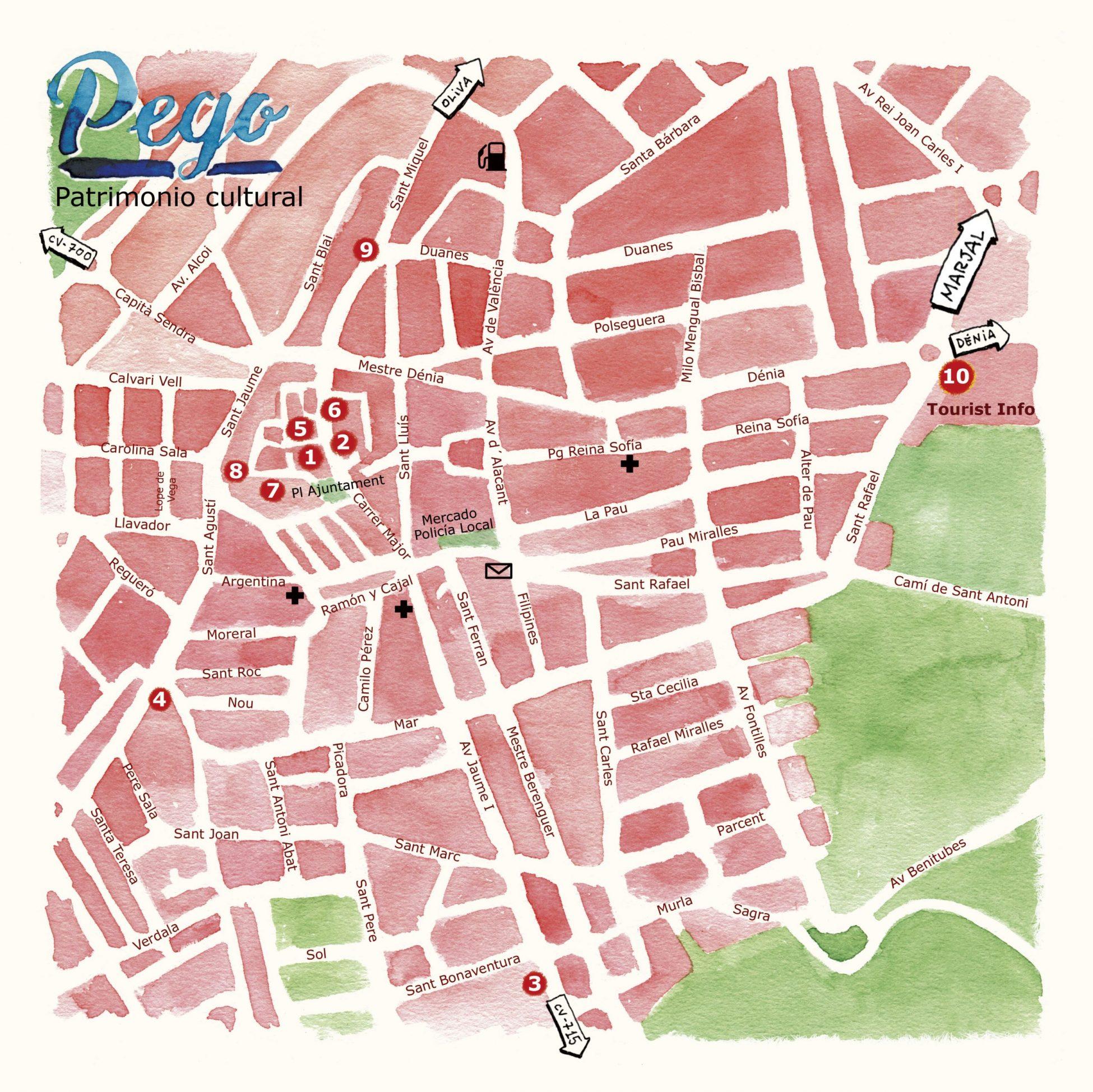 Mapa ilustrado en acuarela de Pego, pueblo y municipio de Alicante. Diseño ayuntamiento