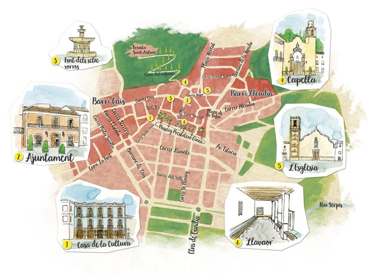 Diseño de mapa ilustrado del pueblo de vilallonga (La Safor - Valencia) realizado en tinta y acuarela sobre papel